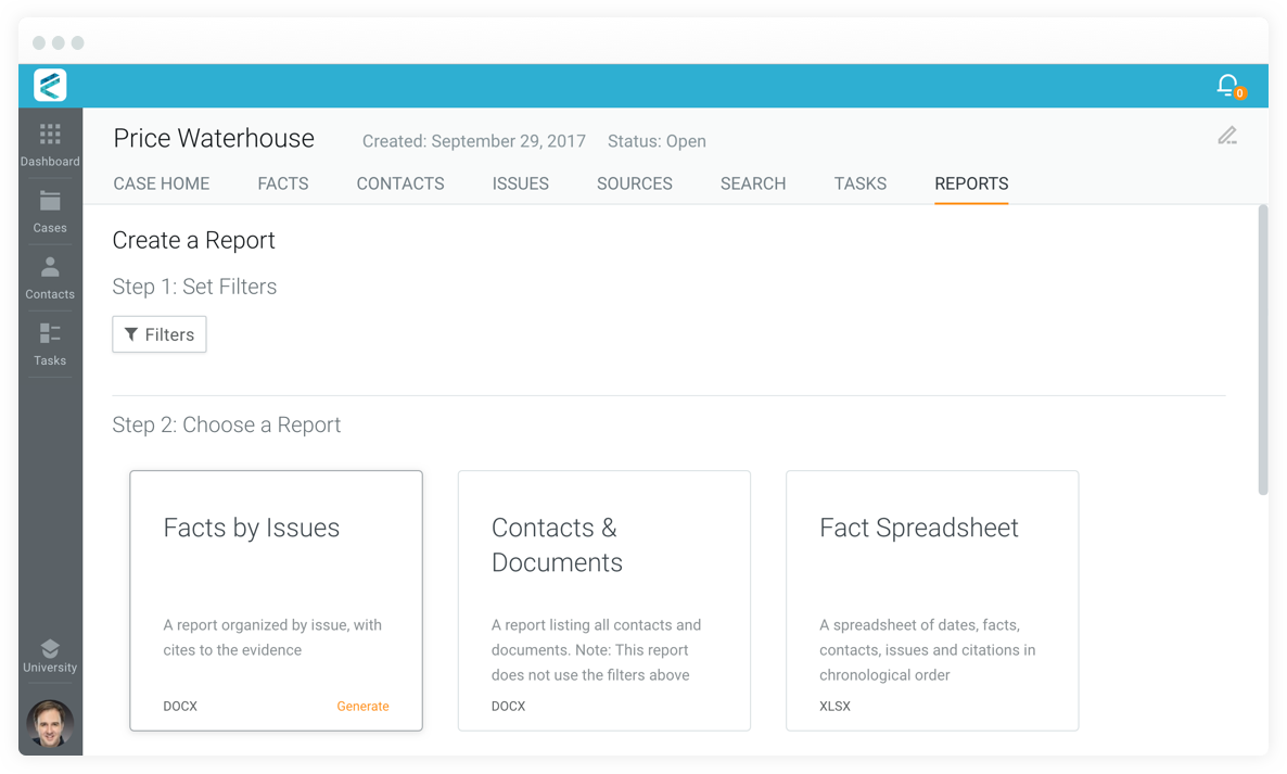 View of reports page, showing reports for statements of fact; contacts and documents; and fact spreadsheets