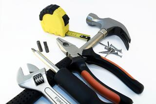 A variety of tools: hammer, pliers, etc.