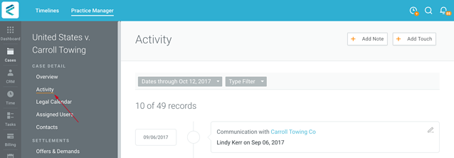 Where to find case activity tab